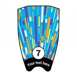 """Fin sticker: Geometric """"Fast"""" multicoloured top"""