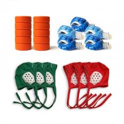 Lot de 10 palets + 3 bonnets verts + 3 bonnets rouges + 5 gants pour club de hockey subaquatique.