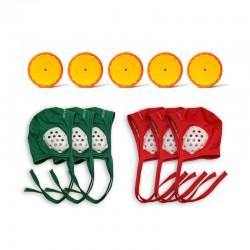 Lot de 5 palets + 3 bonnets verts + 3 bonnets rouges pour club de hockey subaquatique.