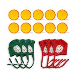 Lot de 10 palets + 3 bonnets verts + 3 bonnets rouges pour club de hockey subaquatique.