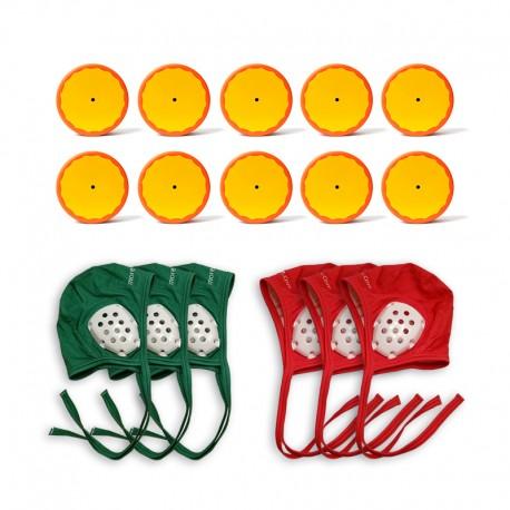 10 pucks pack + 3 green caps + 3 red caps