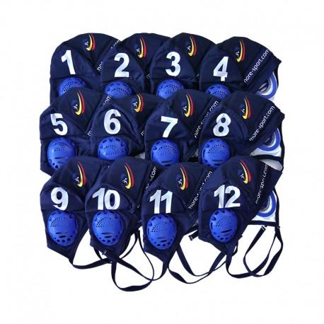 Jeu de 12 bonnets antichocs bleu nuit