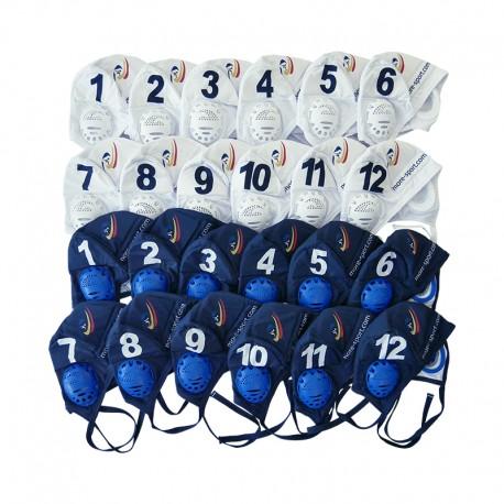 Bonnets antichocs : 12 blancs + 12 bleu nuit