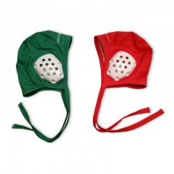 Duo of a green cap for underwater hockey coaches and red cap for referees